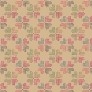 Lewis & Irene Threaded With Love - 5082 - Cross Stitch Hearts on Gold - A183.2 - Cotton Fabric